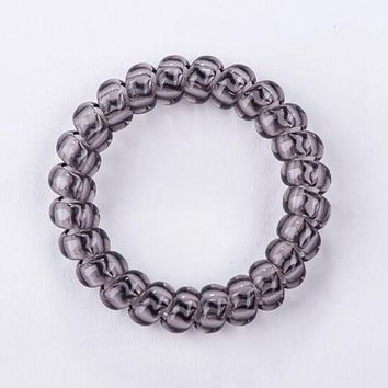 2017 Hot Sale Fashion Telephone Wire Line Cord  Traceless Hair Ring Gum Clear Color  Elastic Hair Rubber Band For Girl