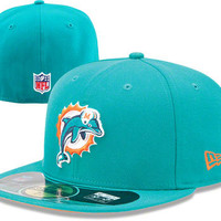 Miami Dolphins Aqua New Era 2012-2013 Sideline 59FIFTY Fitted Hat