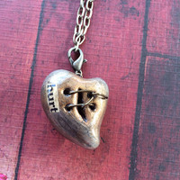 "Steampunk Wire Mended Broken Heart Pendant Necklace - Bronze with Brushed Silver ""Hurt"""