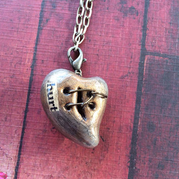 """Steampunk Wire Mended Broken Heart Pendant Necklace - Bronze with Brushed Silver """"Hurt"""""""