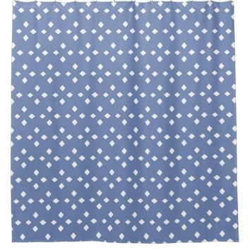 Vintage Blue White Diamond Line Pattern Custom Shower Curtain