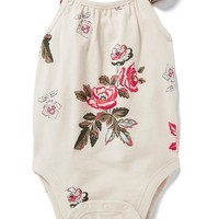 Flutter-Sleeve Crossback Bodysuit for Baby