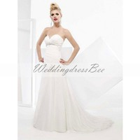 A-line chiffon flowing wedding dress