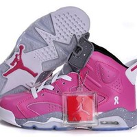 Hot Nike Air Jordan 6 Retro Women Shoes Pink Grey White