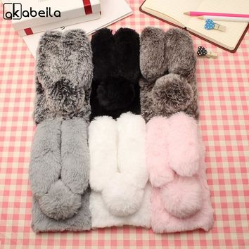 AKABEILA Rabbit Fur Soft Silicon Phone Case Cover For Apple iPhone 5 5S 5G SE/6 6S 6G/6 PLUS/6S PLUS/7 7G/7 PLUS Cover Diamond