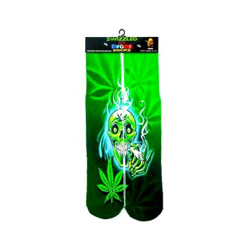 Green Marijuana Leaf Skull Socks