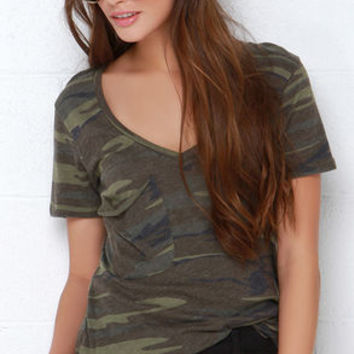 At Attention Green Camo Print Tee
