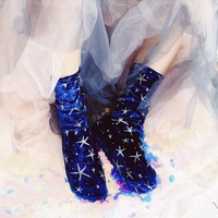 New Arrived Korean Style Fashion High quality Stars diamond velvet Glitter Socks Women Winter velvet socks Pile heap socks