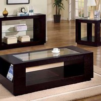 Cappuccino Sofa Table With Glass Insert & Shelf