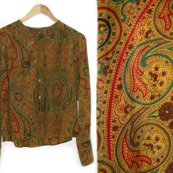 Vintage Silk Shirt~Small/Medium~70s 80s 90s Paisley Floral Yellow Red Green Blue Brown Long Sleeve Button Down Blouse~By Jones New York