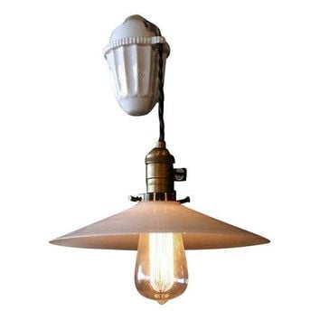 Pre-owned Porcelain Pulley Pendant Light