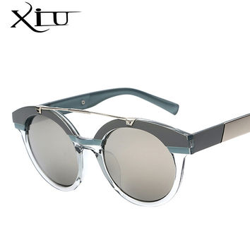 XIU Women Round Circle Classic Twin-Beams Steampunk Sun Glasses Brand Designer Oval Shades Sunglasses Mirror UV400
