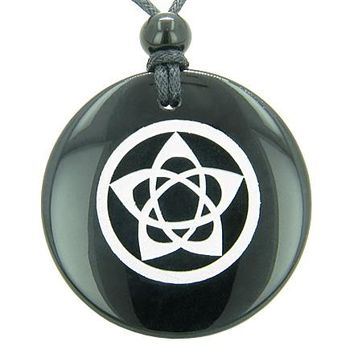 Flower of Life Wiccan Pentacle Star Amulet Black Onyx Magic Gem Circle Spiritual Pendant Necklace