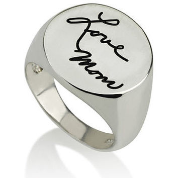 Signature Handwriting Signet Ring - .925 Sterling Silver