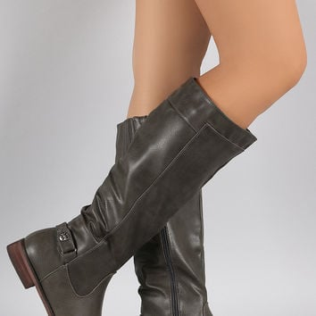 Studded Round Toe Riding Knee High Boots