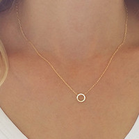 Dainty circle necklace, Karma necklace, Gold circle necklace, Minimalist necklace, Layering necklace, Tiny pendant necklace, Gold necklace