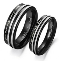 "Stainless Steel Ring Couple Pair Wedding Band Finger Set ""I Am Your Only Love"" Jewelry 304 W6"