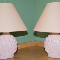 Vintage Pink Clam Shell Portable Lamps w/ Shades