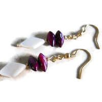 Elegant Bold Purple River Shell Beaded Jewelry Natural Mother of Pearl Earrings Flat Diamond Cut Gold Findings Accents