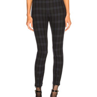 T by Alexander Wang Plaid Fitted Legging in Maroon Plaid | FWRD