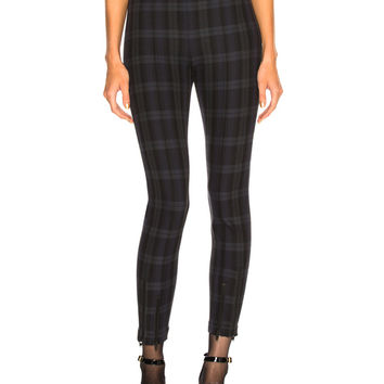 T by Alexander Wang Plaid Fitted Legging in Forest Plaid | FWRD