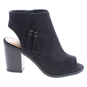 Ecoya Black F-Suede by Soda, Black Suede Ankle Booties Peep Toe Sling Back Stack Heel Booties w Tassel & Zipper