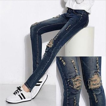 6 EXTRA LARGE Jeans Korean Fashion Hole Jeans Female Feet Slim Pencil Jeans Woman Stretch Embroidered Trousers High Waist Jeans