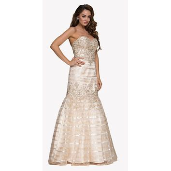 Sweetheart Neckline Beaded Long Mermaid Prom Dress Gold