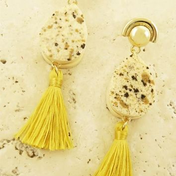 """Gold Tear Drop Tassel Earrings"""