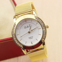 Lady Women Girl Unisex Crystal Stainless Steel Quartz Wrist Watch GOOE = 1956422660