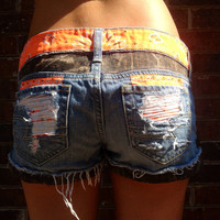 GIRLS Camo and Orange Studded Cutoff Denim Shorts. Camouflage Hunting