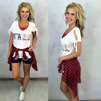 Y'all American Flag Tie Sleeve Top