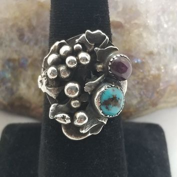 Star Ruby and Turquoise Native American Navajo sterling silver ring old pawn