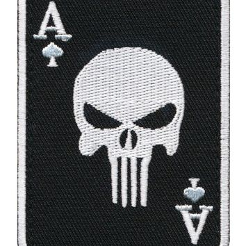 """Ace of Spade """"Ace of Death Card"""" Embroidered Patch"""