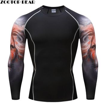 Lion Compression T shirts MMA Crossfit Exercise Workout Fitness Breathable Men Tops Bodybuilding Tees Brand T-shirts ZOOTOP BEAR