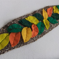 Woodland Knitted Wool Earwarmer Headband With Handstitched Felt Leaves