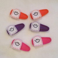 Cute Smiley Ghost Felt Snap Clip Barrettes You choose your color of pink, purple or orange