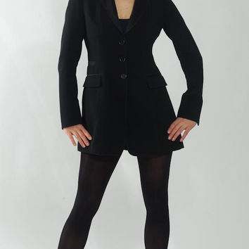 1990's Black Studio Blazer - Vintage Strenesse Sheer Fitted Formal High Fashion Leather New Wave Classic Preppy Cocktail Evening Coat Size