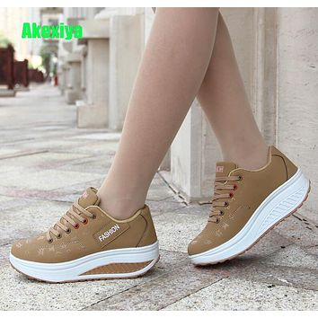 72b76b1214fb Hot Women Sneakers 2018 Breathable Waterproof Wedges Platform Vu