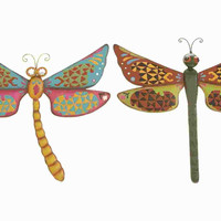 Benzara Metal Dragonfly Assorted with Bright & Glowing Colors (Set of 2)