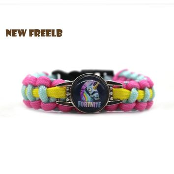 Hot FPS Game Fortnite Battle Royale Rainbow Unicorn Bracelets Fashion Pink Handmade Personalized Jewelry for Women and Men fans