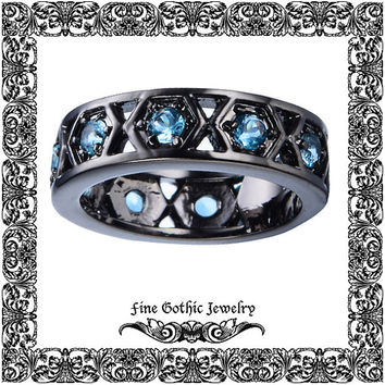 Unique Wedding Band Steampunk Wedding Band Industrial Hexagon Aquamarine Crystal Eternity Black Gold Filled Ring | Size 6 7 8 9 10 #200-aqx