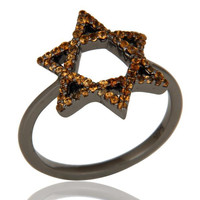 Spessartite and Oxidized Sterling Silver Star Design Ring