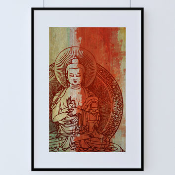 Indian Budha  Print Vintage Hindu Decor Budhist Wall Art - Giclee Print on Cotton Canvas and Paper Canvas