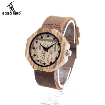 BOBO BIRD D04 Bamboo Wooden Cowhide Leather Band Watch