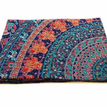 Blue Love Mandala Bohemian Kantha Quilt 3 PC Boho Bed Set 2 Pillow Cases - Free Shipping