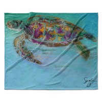 "Josh Serafin ""Mommy"" Turtle Fleece Throw Blanket"