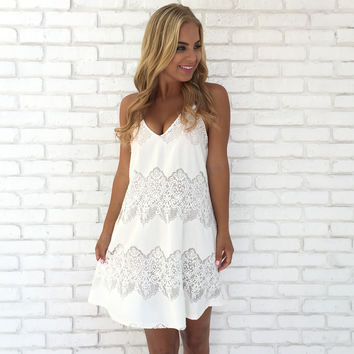 Elegant Muse Lace Dress In White