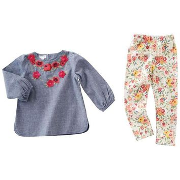 Mud Pie-Floral Chambray Tunic and Legging Set, Multi