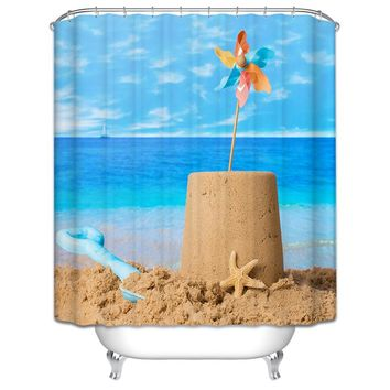 1 Piece Hot Sale Waterproof Shower Curtain for Bathroom Polyester Modern Style Home Cartoon Bath Curtain with 12 Hooks